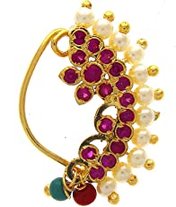 Anuradha Art Golden Finish Styled with Studded Sparkling Stone Traditional Nath for Women/Girls{Press On}