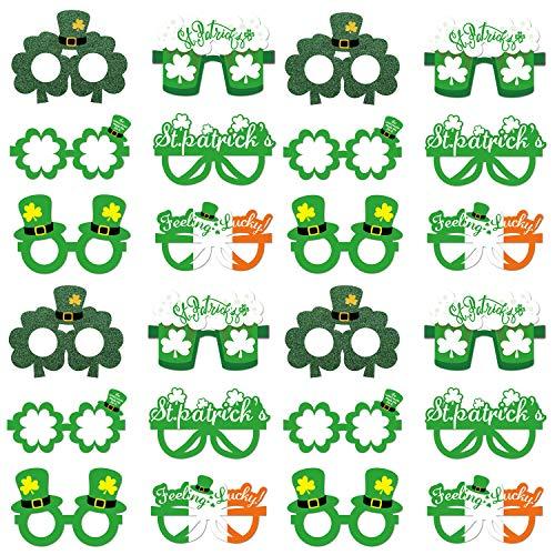 24 Stück St. Patricks Day Glasses Shamrock Bier Sonnenbrille Irish Clover Top Hat Brille für Irish Party Favors Liefert Zubehör für Kinder Erwachsene