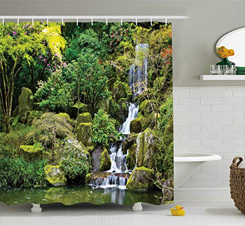 tgyew Country Home Decor Shower Curtain Set, Pond in Asian Style Garden Arboretum Trees Bush Foliage Rocks Waterscape Picture, Bathroom Accessories, 66x72 inches Extralong, Forest Green