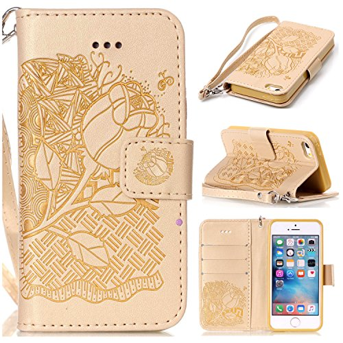 iPhone SE Hülle,iPhone 5S Hülle,iPhone 5 Hülle,iPhone SE/5S/5 Ledertasche Handyhülle Brieftasche im BookStyle,SainCat Rose Muster PU Leder Hülle Wallet Case Folio Schutzhülle Lederhülle Ledercase Scra Rose-Gold