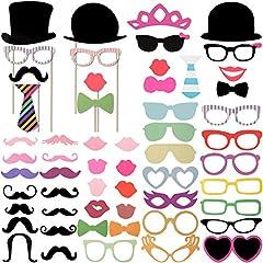 Idea Regalo - Foonii 63pcs photo booth props Accessori fai da te colorati occhiali baffi labbra farfallino cappelli su bastoni per matrimonio partito Natale compleanno