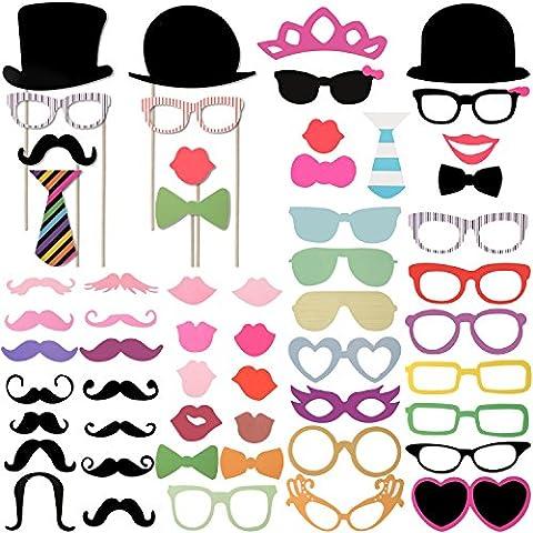Foonii 58PCS Accessoires Photobooth Bricolage Moustache Lunettes Chapeau Lèvre Avec