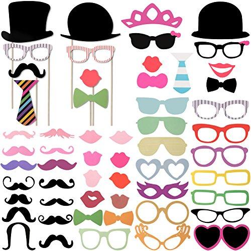 Foonii 58PCS Accessoires Photobooth Bricolage Moustache Lunettes Chapeau Lèvre Avec Bâton pour Fete vacances de fête de noël fête d'anniversaire