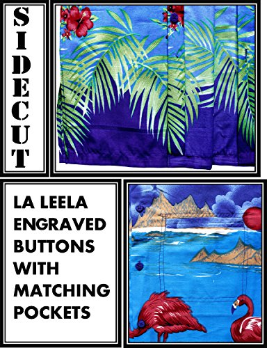 La Leela Strand Hawaiihemd Herren XS - 5XL Kurzarm Front-Tasche Hawaii-Print Casual Button Down Hemd Blau Königsblau - Blau Flamingo