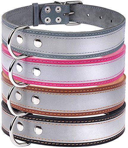 CollarDirect Hundehalsband, Reflektierend, Sicherheit Echt Leder Halsband für Hund, Handgefertigt Puppy Halsband Braun Schwarz Pink Grau Klein Mittel groß, Neck Fit 20