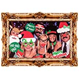 ASAB Novelty Photobooth Selfie Large Picture Frame 24 Piece Card Posing Props Creative Family Friends Memorable Party Fun - Christmas image