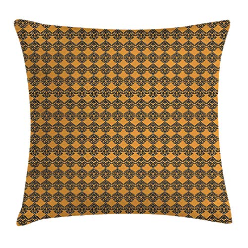 Ethnic Throw Pillow Cushion Cover, Middle Eastern Talavera Pattern Folk Art Oriental Style Composition, Decorative Square Accent Pillow Case, Apricot and Dark Night Blue,18 X 18 Inches -