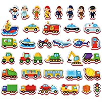 Fridge Magnets for Kids VEHICLES and PROFESSIONS (36 pcs)- 2 year old boys toys- 2 year old girl toys- Magnets shapes- Magnetic toys- Educational toys for 2 year old
