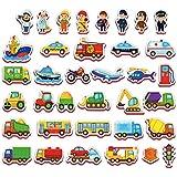 Imanes nevera para niños VEHICULOS Y PROFESIONES 36 piezas - 3 años juguetes - Imanes niños - Juguetes magneticos - juguetes niños 3 años