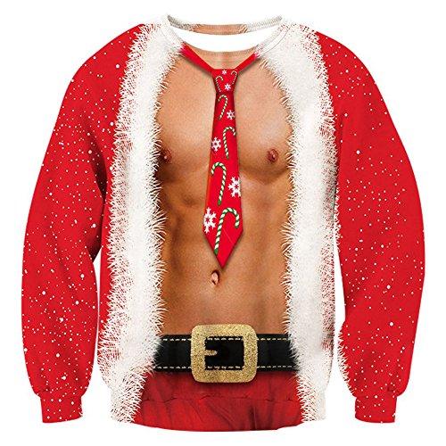Kostüm Spaß Paar - Rave on Friday Unisex 3D Pullover Teenager Druck Herren Weihnachten Fälschung 2 Stück Muster Bequem Lose Sweatshirts Casual Kostüme für Paar Familie L