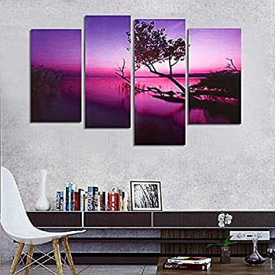 Canvas Paints LuckyFine Decor Wall Art Painting Modern Picture Purple Lake Scenery Print Gift For Living Room - inexpensive UK light store.