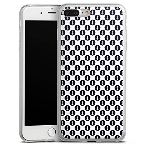Apple iPhone 8 Slim Case Silikon Hülle Schutzhülle Anker Muster Anchor Matrose Silikon Slim Case transparent