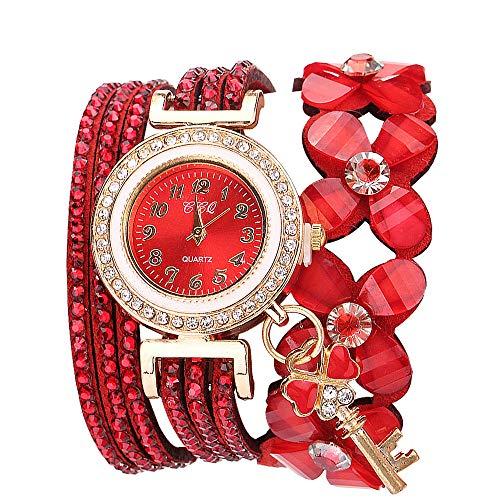 Lazzgirl Flowers Geneva Watches Modische Stilvolle Quarz-Armband-Damen-Diamantuhr(Rouge,One Size)