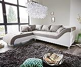 DELIFE Couch Cadiz Weiss Hellgrau 261x204 Ottomane Links Kedernaht Ecksofa