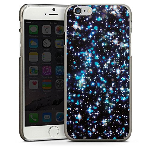 Apple iPhone 4 Housse Étui Silicone Coque Protection Étoiles Paillettes Motif CasDur anthracite clair