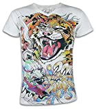 Ako Roshi Herren T-Shirt Tora to Akuma Tiger und Dämon Kampfsport Tattoo Japan (Weiß XL)