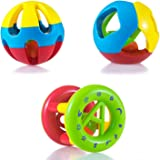 WISHKEY Kid's Non-Toxic, Shake and Grab Ball, Educational and Developmental Toys with Storage Bag Baby Rattles-Set of 3