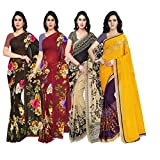 Anand Sarees Synthetic Saree with Blouse Piece (Pack of 4) (PACK_OF_4_1052_2_1052_3_1086_1_1190_2_multicoloured_Free size)
