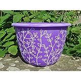 30cm Planter Round Plastic Garden Flower Plant Herb Pot Stone Lite Style (Purple/White) Wilsons Direct