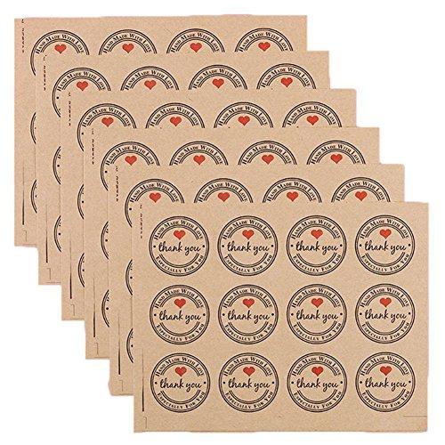 ,8 cm Danke Kraftpapier Aufkleber Etiketten Fuer Hochzeit Gunsten Dankeskarte, Danke Stempel Aufkleber, DIY Geschenk Verpackung (10 Blaetter) ()