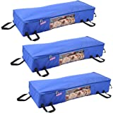 PrettyKrafts Long Underbed Storage Bag, Storage Organizer, Blanket Cover with Side Handles (Set of 3 Pieces) - Royal…