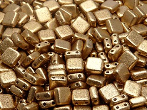 40pcs-tschechische-glasperlen-tile-zwei-loch-flach-platz-6x6x29mm-aztec-gold