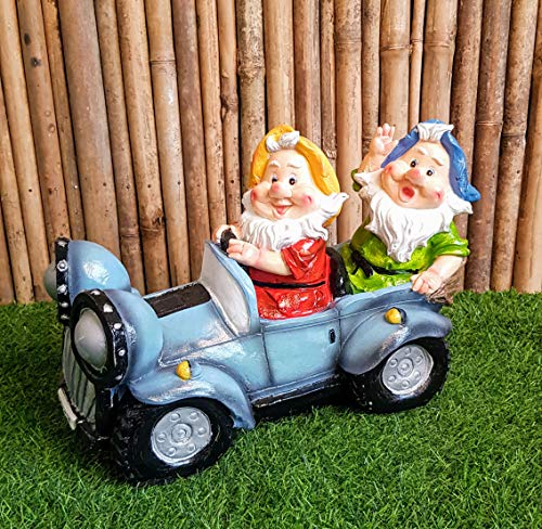 Wonderland Two Gnome Sitting in car Solar Light (Garden Decor Lights or Home Decoration, Gifting, Gift, Balcony Garden Decor, Solar Lights Outdoor)
