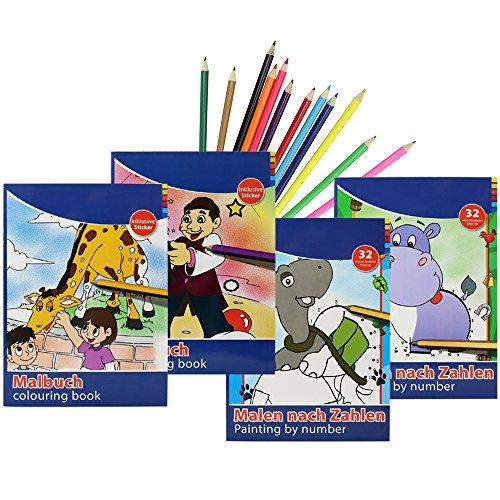 COM-FOUR® 4x Malbücher für Kinder zum Ausmalen und Malen nach Zahlen in verschiedenen...