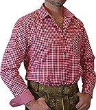 trenditionals Trachtenhemd Martin kariert mit edlen Karo Kontrasten, Größen:XL;Farbe:rot - weiss