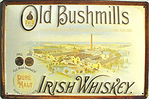 irish-whiskey-old-bushmills-plaque-en-metal-30-x-20-cm