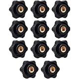 14 Pezzi M8 Manopola di Serraggio a Filettatura, Manopola a Stella Vite, Nero Plastica a Forma Stella Serraggio Dadi,per Macc
