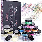Maquillage Paillettes Set, Lictin 11 Boîtes Paillettes de Visage Multi-formes et Multi-couleurs et 4 Boîtes Gel pour Fête, Noël, Cosmétiques Brillants pour Visage, Corps, Yeux, Ongles, Cheveux, etc