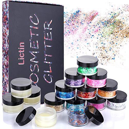 Lictin Set di Polvere Glitter per Unghie, Lustrini 3D Brillantini Decorazioni per Ombretto,Trucco, Nail Art,11 Colori con 4 Scatole di Gel per Festa,Natale