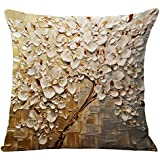 3d de pintura al óleo Home decorativo Cotton Linen manta funda de almohada cojín caso cuadrado funda para sofá, silla y cama salón dormitorio sofá banco casa Bar Pub de café de 18x 18pulgadas, algodón, blanco floral, Cover WITHOUT Pillow Insert