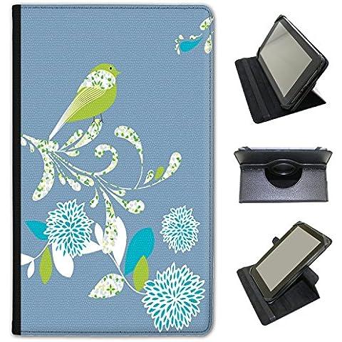 Elegante (piel sintética, función atril), diseño de flores de pájaros sobre para Google tablets negro azul (Denim Blue) Google Nexus 7 2013