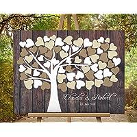 Wedding tree Hochzeitsbaum von CristalPainting - Hochzeitsgästebuch, Hochzeitsalbum + Baum + Fingerprint + Unterschrift auf Leinwand - 50x40 cm Leinwanddruck auf Keilrahmen
