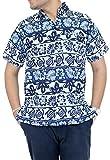 La Leela Cottton de rassemblement hawaïen 3 en 1 floride plage smart manches courtes soirée à thème vacances poche avant décontracté bouton ajustement vers le bas la chemise bleue des hommes de robe