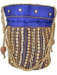 Hanumant Creations Traditional Rajasthani Handicraft Potli Bag, Blue, HCHB010