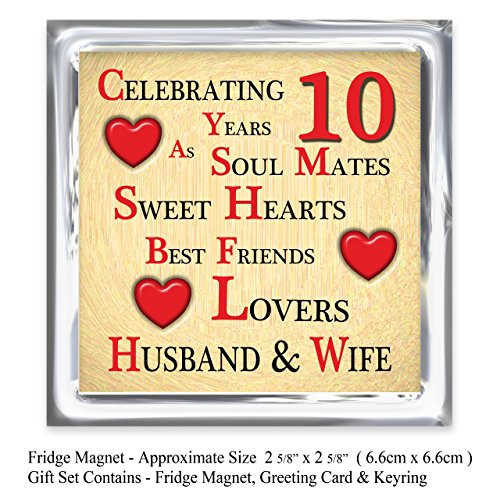 10th Wedding Anniversary Gift Husband : Our 10th Wedding Anniversary Gift Set Card, Keyring & Fridge ...