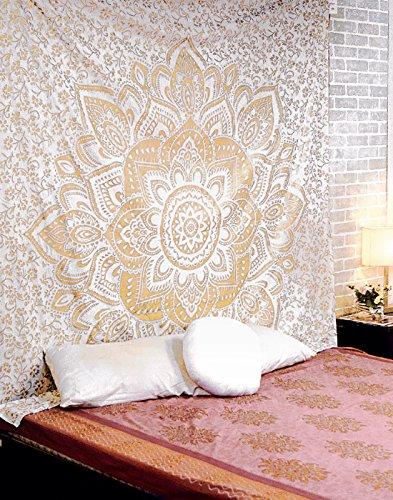 RAJRANG Mandala Wandbehang Golden Tapestry Baumwolle Wandteppich Hippie Bohemien Wandtuch Blumen Orientalisch Indisch Wand tuch