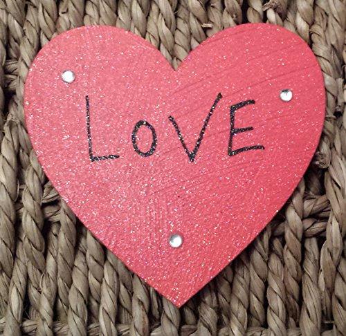 Personalizzato regalo di San Valentino 'Love magnete rosso cuore di legno per mum-girlfriend-wife-husband-handmade