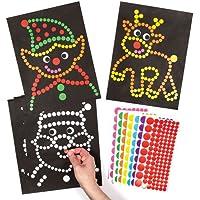 Baker Ross Illustrations et pois autocollants (Lot de 8) - Loisirs créatifs pour enfants