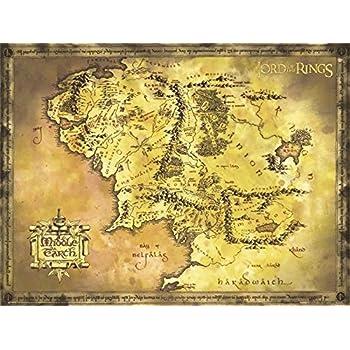 Mittelerde Karte Komplett.Amazon De Close Up Poster Herr Der Ringe Karte Von Mittelerde