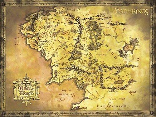 Close Up Poster Herr der Ringe - Karte von Mittelerde Riesenformat 135,5 x 98cm