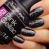 Pink Gellac 177 Glitterize Black UV Nagellack. Professionelle Gel Nagellack shellac für mindestens 14 Tage perfekt glänzende Nägel