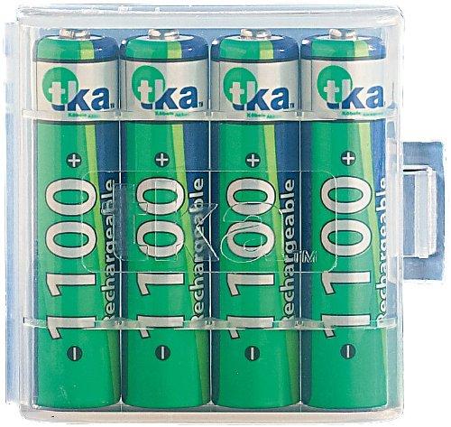 tka Köbele Akkutechnik AAA Akku: 4er-Set NiMH-Akkus Typ AAA/Micro, 1.100 mAh, mit Aufbewahrungs-Box (Akku Batterien AAA)