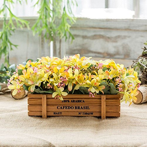 Flinfeays fiori artificiali fake flowers creative wooden fences diy holiday gifts gifts wedding party kitchen window sill home decor wooden pot flowers potted yellow 15