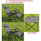 2 X Textoline Reclining Lounger Chairs with Free Folding Table for Garden Outdoor