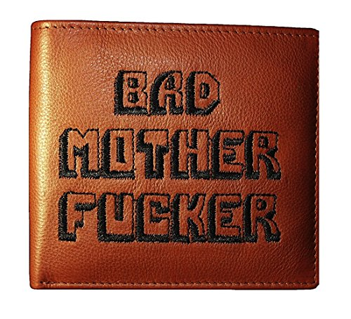 Schwarz Gestickte Brieftasche (Bad Mother Fucker Geldbeutel / Geldbörse / Ledergeldbeutel / Ledergeldbörse / Brieftasche - Hellbraun - Tan brown 100% leather wallet)