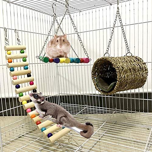 Ewolee Lot de 3 Jouets pour Cage à Oiseaux pour...